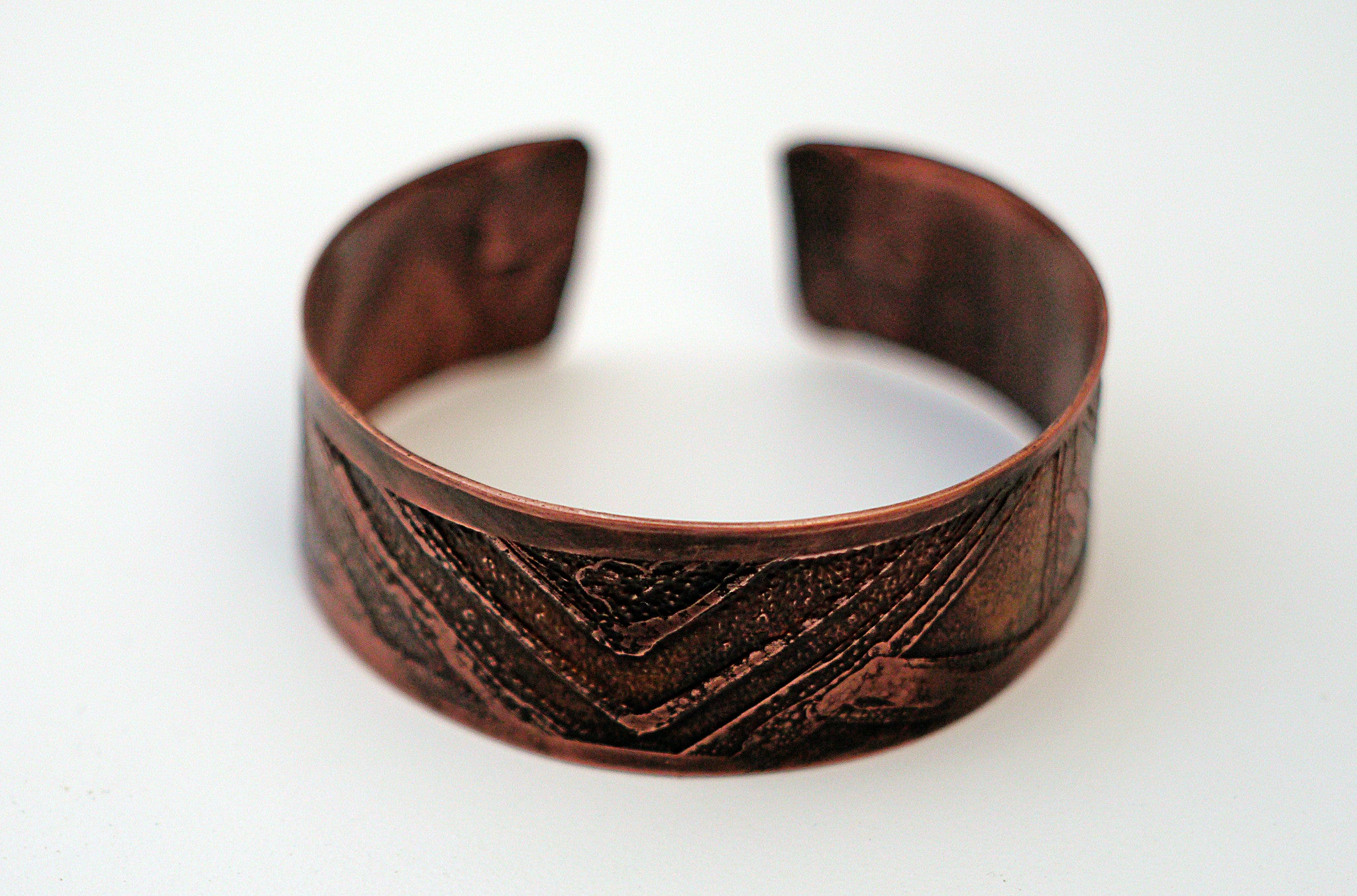 Mens Etched Copper Bracelet Wide Width Front View  Theliftjewelryshop