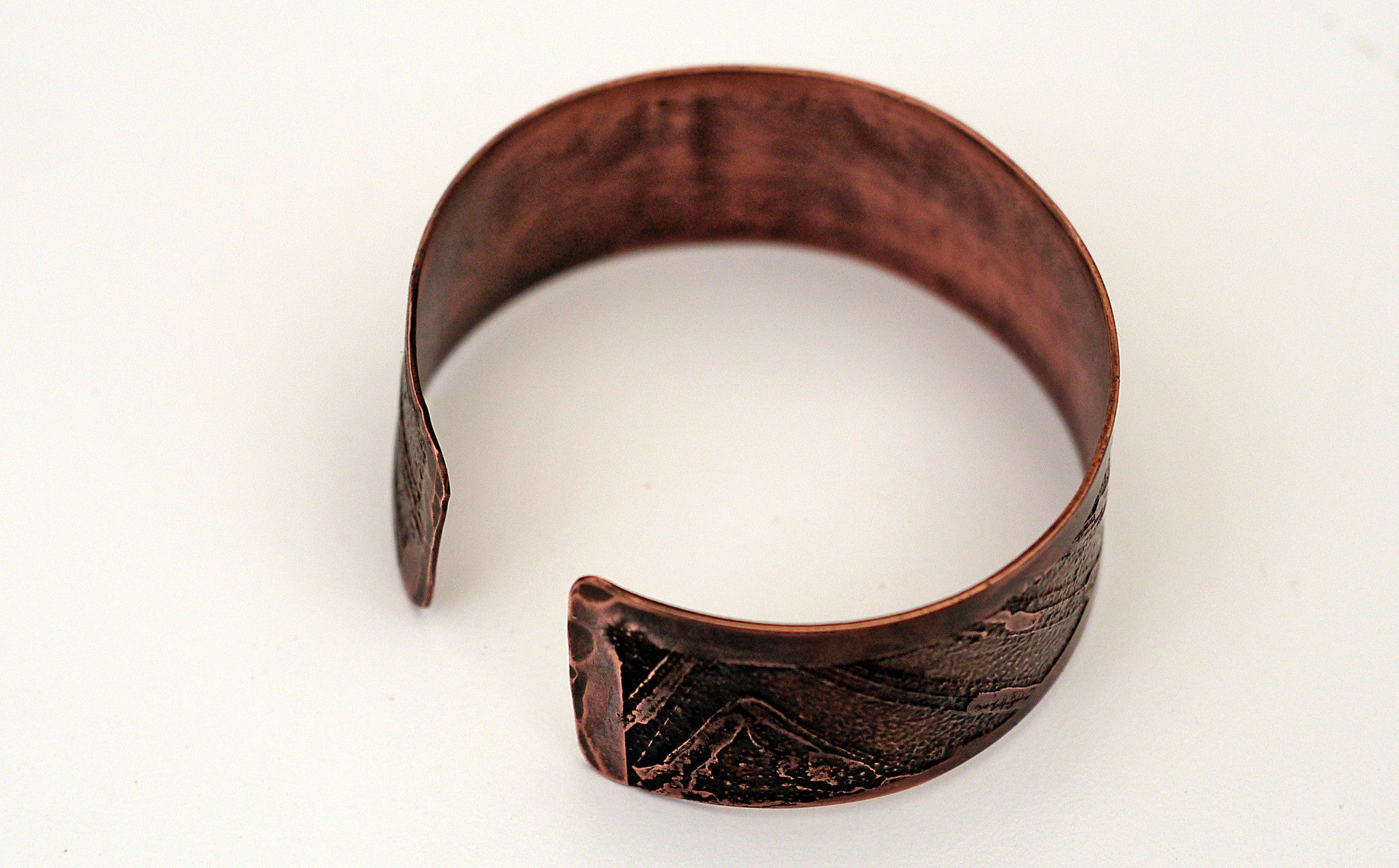 Mens Etched Copper Bracelet Wide Width Back View  Theliftjewelryshop