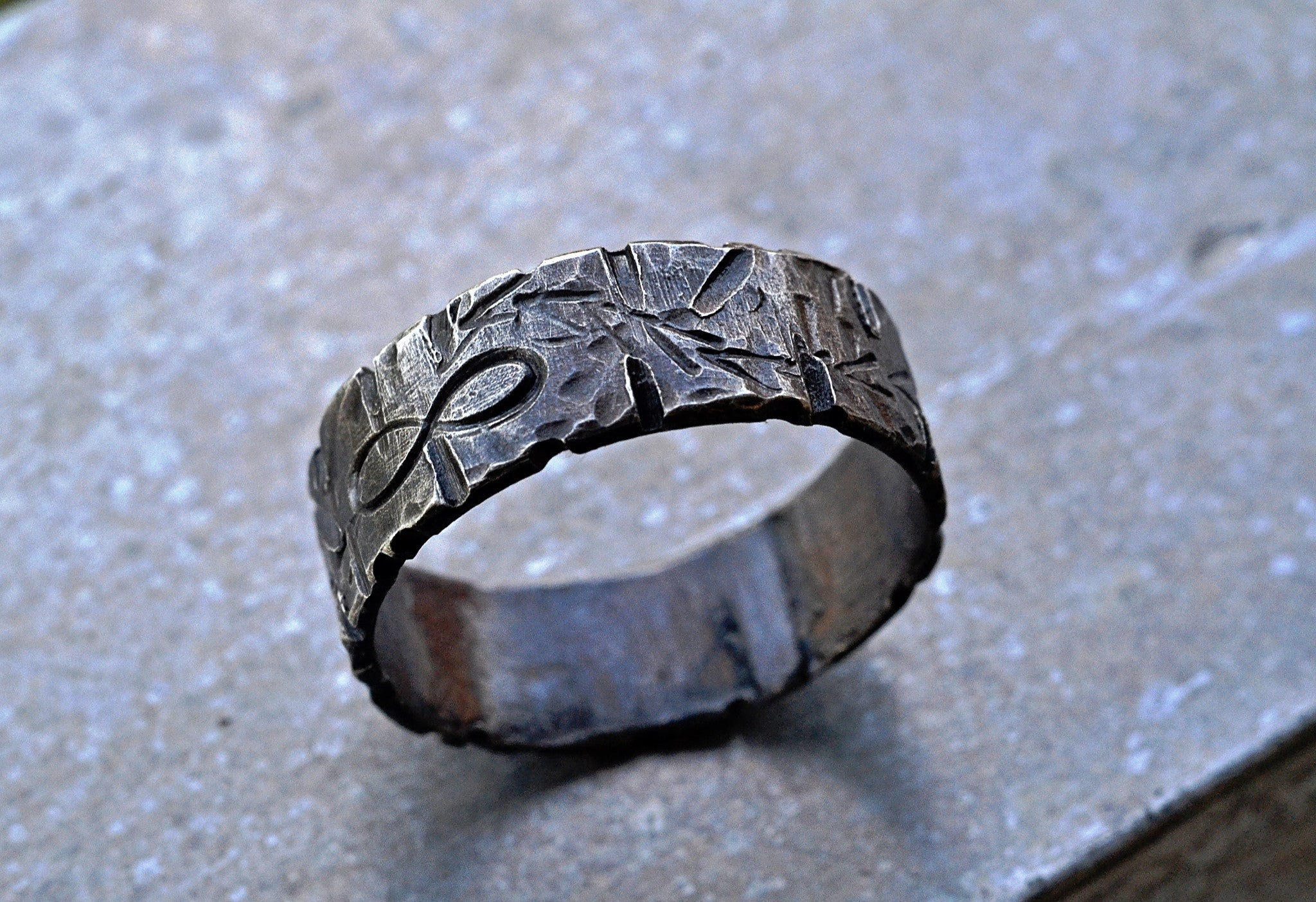 Silver Infinity Symbol Ring 6mm Unisex Arrows Scratches Custom