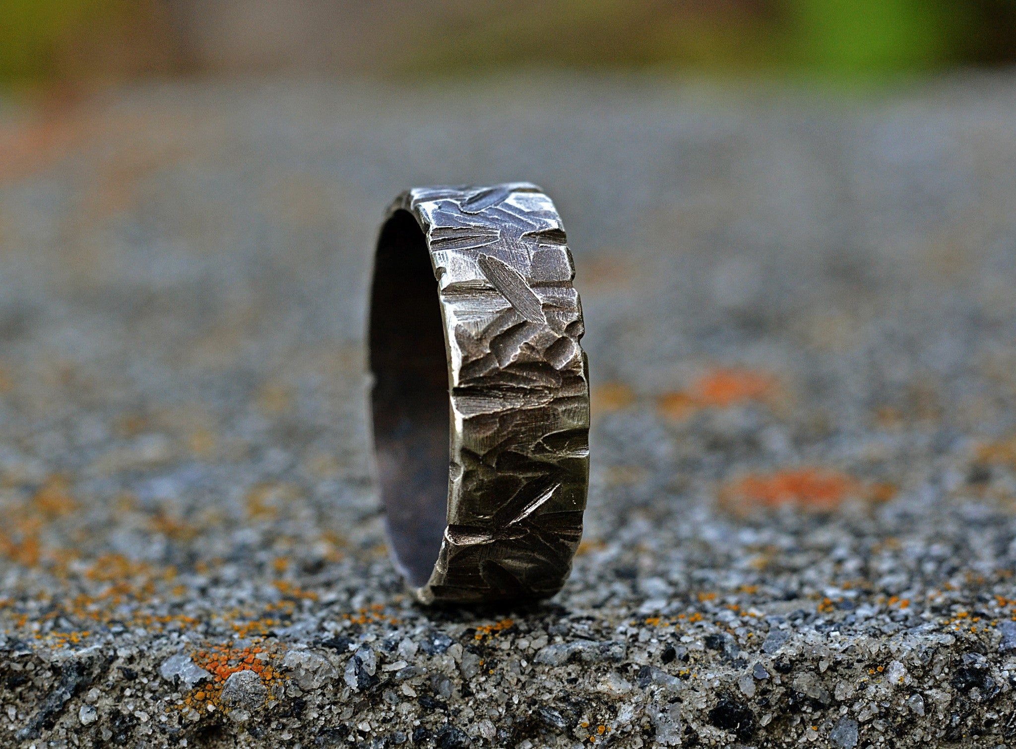 b0dd73ec4f ... Matching Couple Silver Ring Set, Heavily Textured Rings- Slashes,  Scuffs, Dings, ...