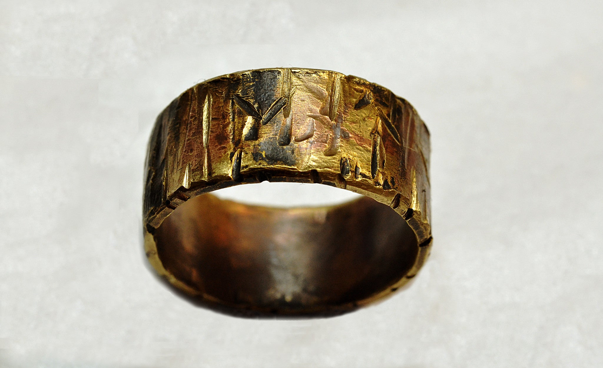 brass ring front products men oxidized nu women distressed band wide bronze red rings highlights with textured for gold raw view