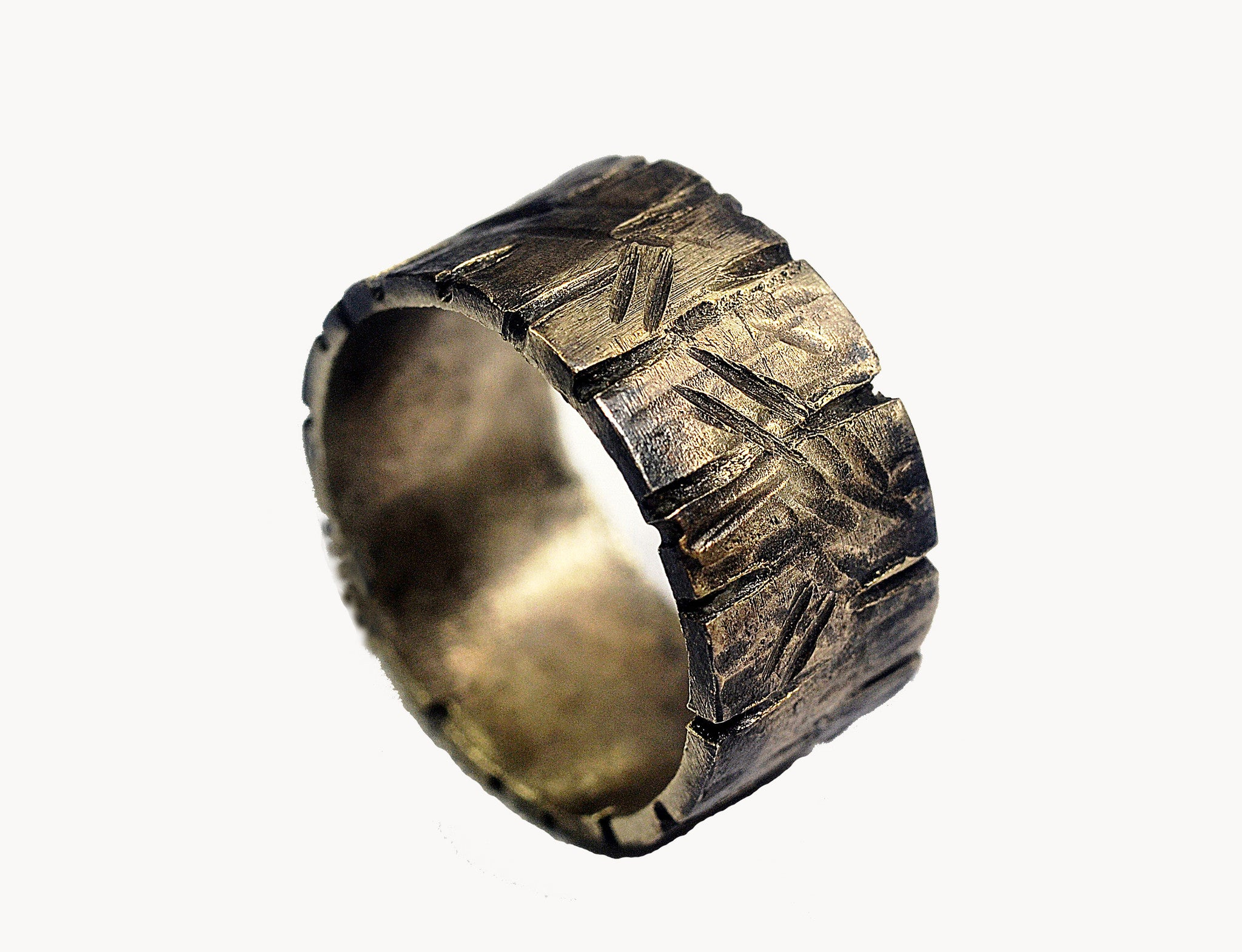b3cc3b968cf9f Custom Distressed Silver Ring- Unisex, Non-Traditional Silver Wedding Ring  - 3/8' Silver Ring Band, Darkened Silver, Rustic