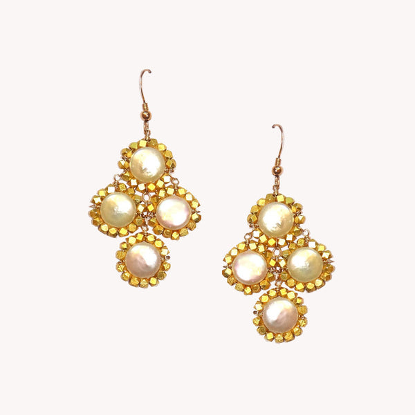 Addison Earring Pearl/Gold