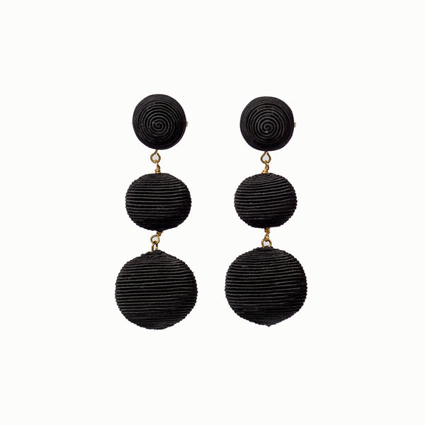 Pom Poms - 3 Drop Black