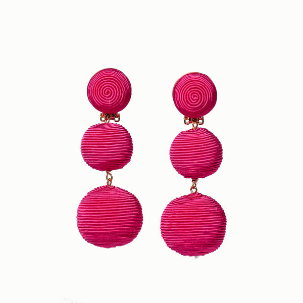Pom Poms - 3 Drop Hot PInk