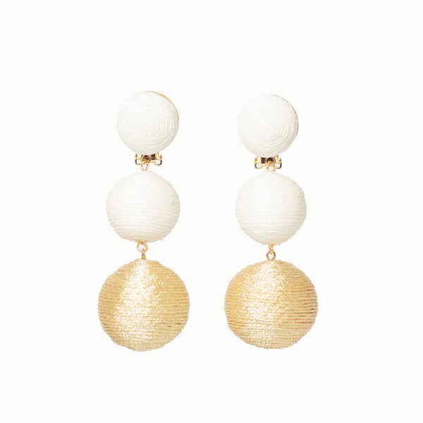 Pom Poms - 3 Drop Sparkle White & Gold