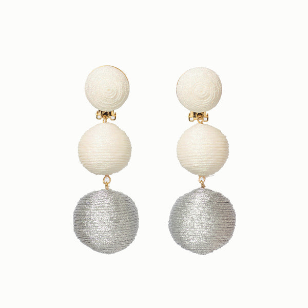KEP Ball Drop Collection- 3 Drop Sparkle White & Silver