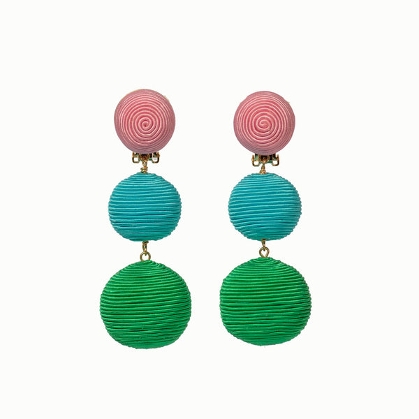 Pom Poms - 3 Drop Light Pink, Turquoise, Bright Green