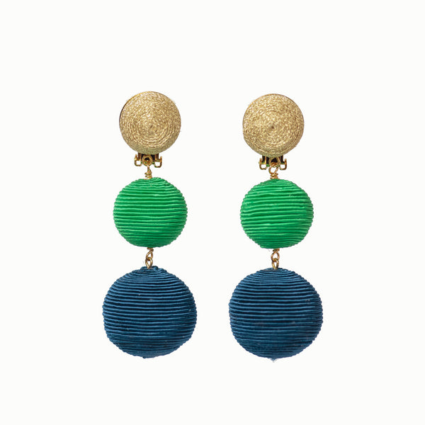 Pom Poms - 3 Drop Sparkle Gold, Bright Green, Navy
