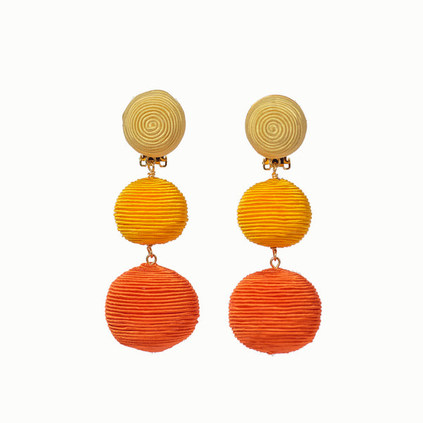 Pom Poms - 3 Drop Ombré Orange