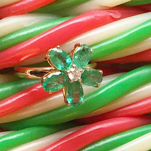 18K Flower Emerald and Diamond Ring