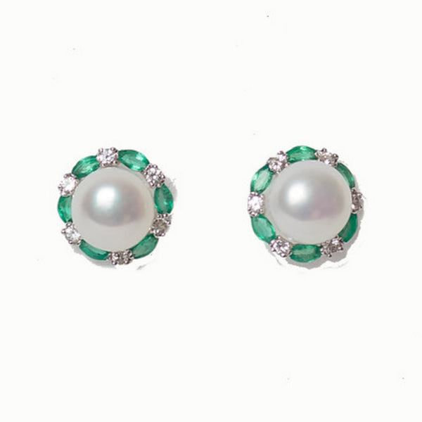 14 White Gold - Mother of Pearl with White Sapphires & Emeralds
