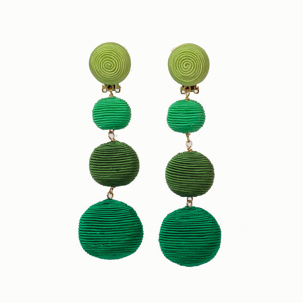 Pom Poms - 4 Drop Ombré Green