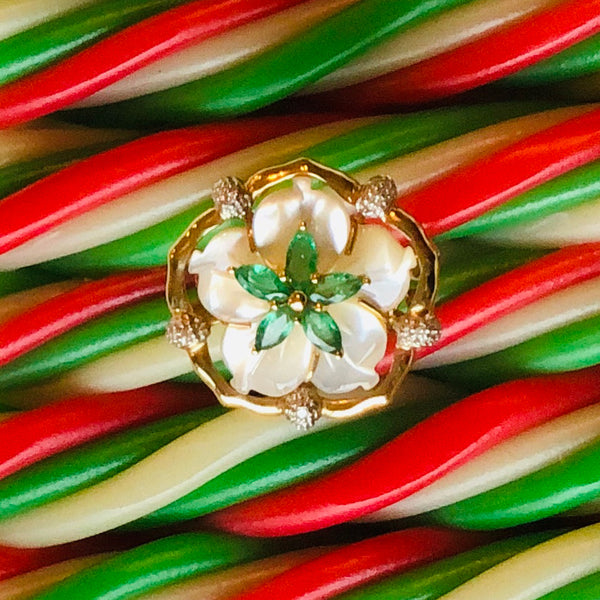 18K Gold Pearl and Emerald, Diamond Flower Ring