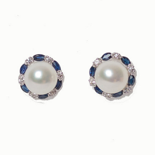 14 White Gold - Mother of Pearl with Sapphires & White Sapphires