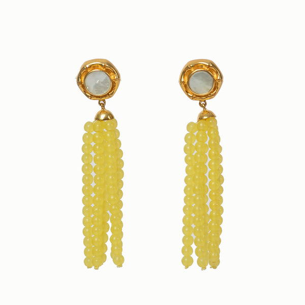 Victoria Tassel - Mother of Pearl - Yellow Tasssel