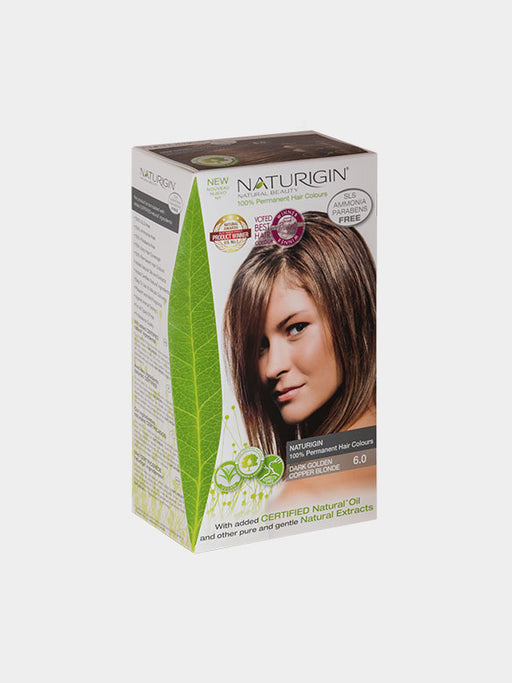 NATURIGIN Permanent Hair Colour- Dark Golden Copper Blonde 6.0