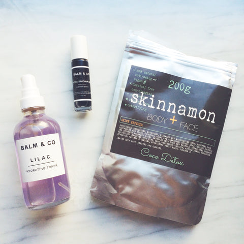 Skinnamon Coco Detox and Balm & Co. Night Collection Blemish Stick and  Lilac Toner