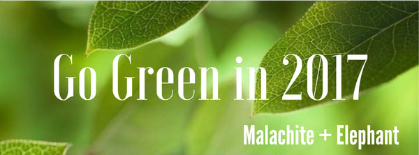 Go Green in 2017 by Malachite + Elephant on Pantone Greenery Background