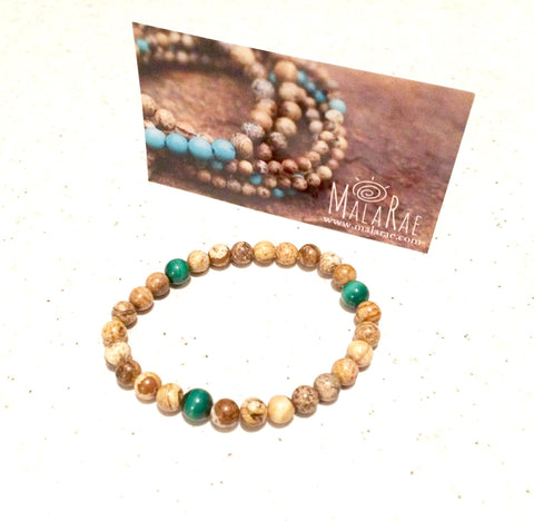 Malachite + Elephant Jasper and Malachite Bracelet by MalaRae
