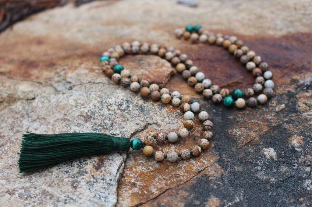 Malachite + Elephant Meditation mala made with Malachite & Jasper