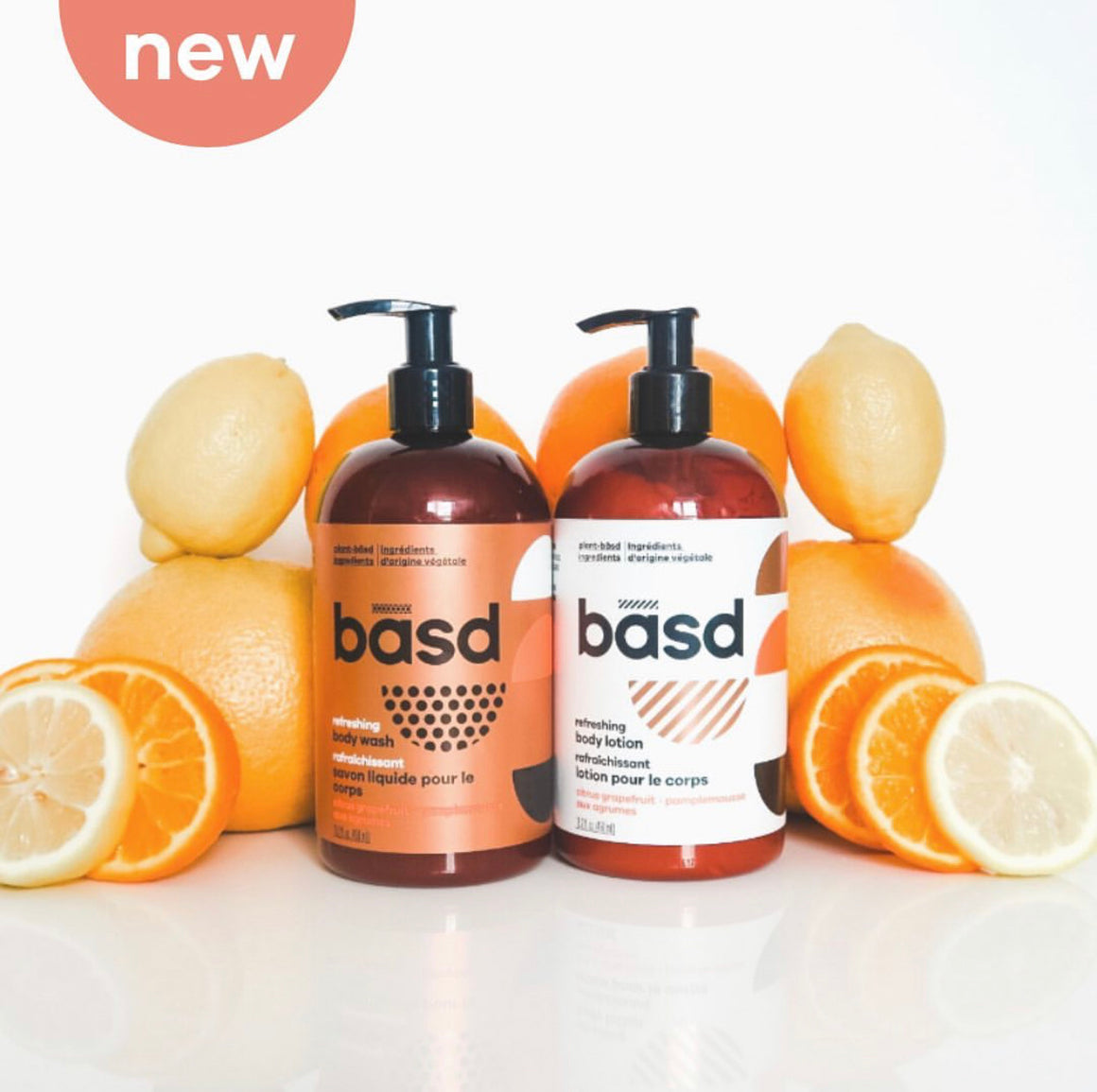 BASD BODYCARE refreshing citrus body wash and lotion