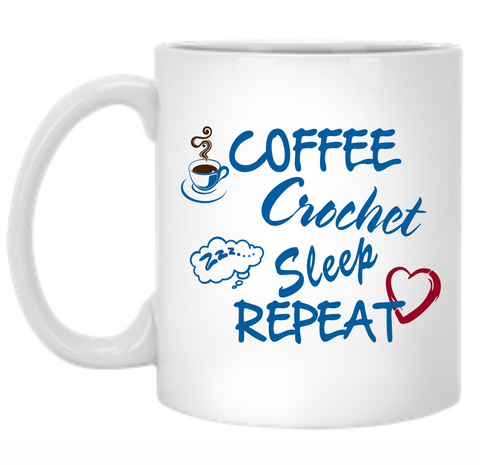 Coffee Crochet Sleep Repeat 11 oz. Mug