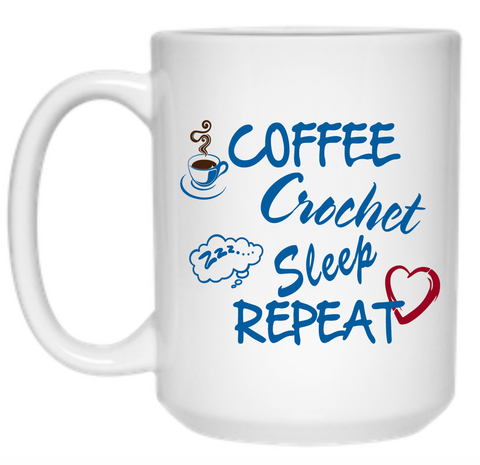 Coffee Crochet Sleep Repeat Mug - 15oz