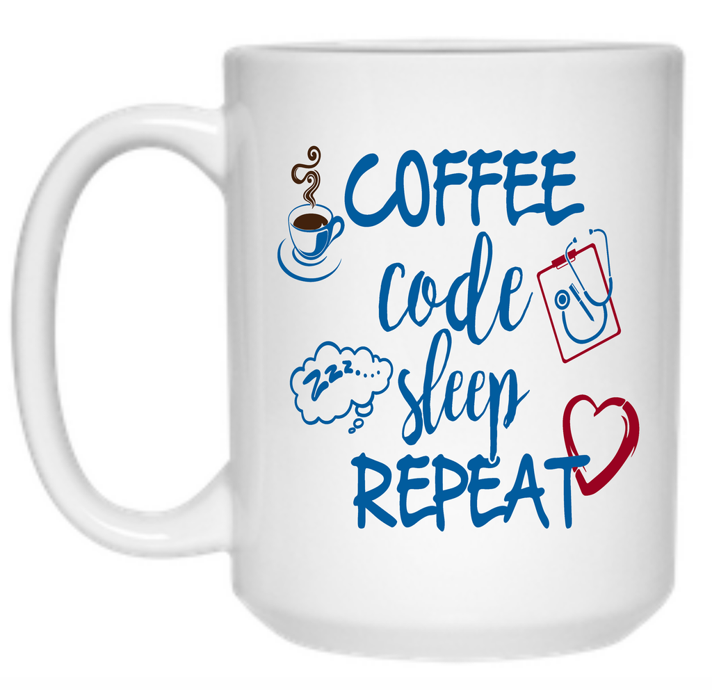 Coffee Code Sleep Repeat Mug - 15oz