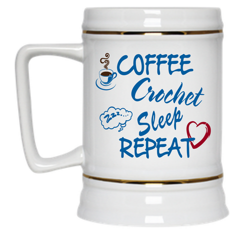 Coffee Crochet Sleep Repeat Beer Stein - 22 oz