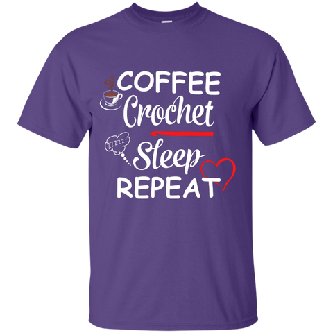 Coffee Crochet Sleep Repeat T-Shirt