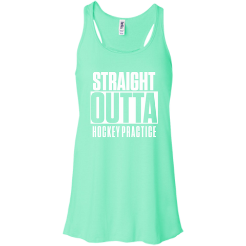 Straight Outta Hockey Practice  Bella+Canvas Juniors Flowy Racerback Tank