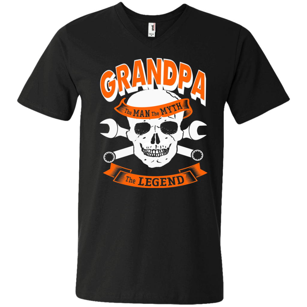 Grandpa The Man The Myth The Legend  Men's  Printed V-Neck T