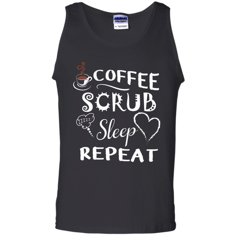 Coffee Scrub Sleep Repeat Cotton Tank Top