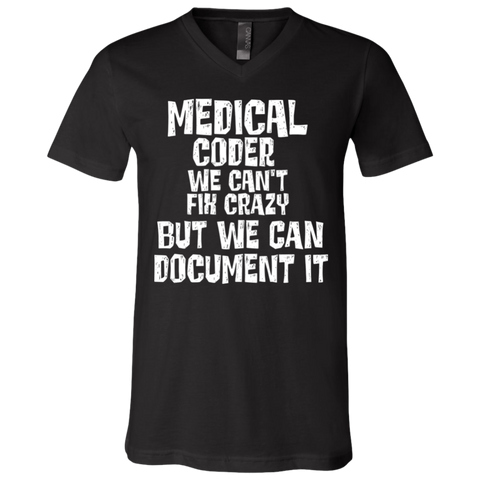 Medical coder we can't fix it  Unisex Jersey SS V-Neck T-Shirt