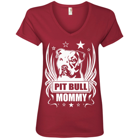 Pit Bull Mommy Ladies  V-Neck Tee