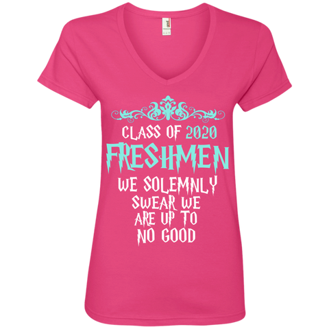 Class of 2020 Freshmen We Solemnly Swear We Are Up to No Good Ladies' V-Neck Tee