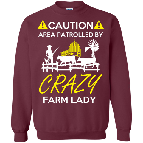 Crazy Farm Lady   Crewneck Pullover Sweatshirt  8 oz