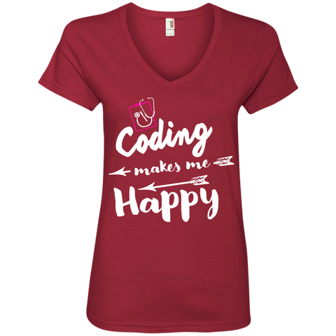 Coding makes me happy  Ladies ' V-Neck Tee
