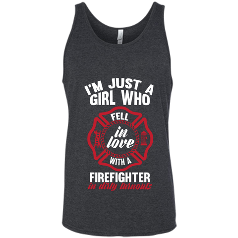 Girl Fell in love with a firefighter Bella +Canvas Unisex Tank