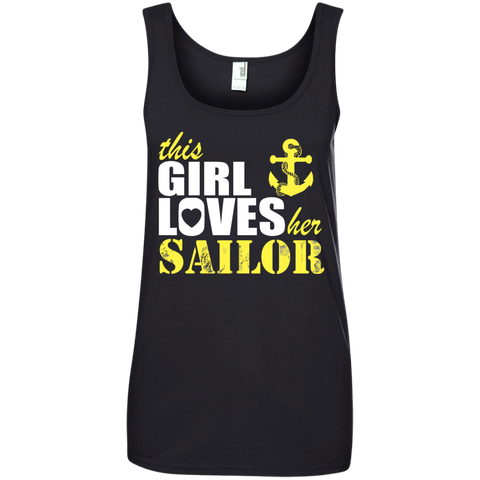 This Girl Loves her Sailor Ladies  100% Ringspun Cotton Tank Top