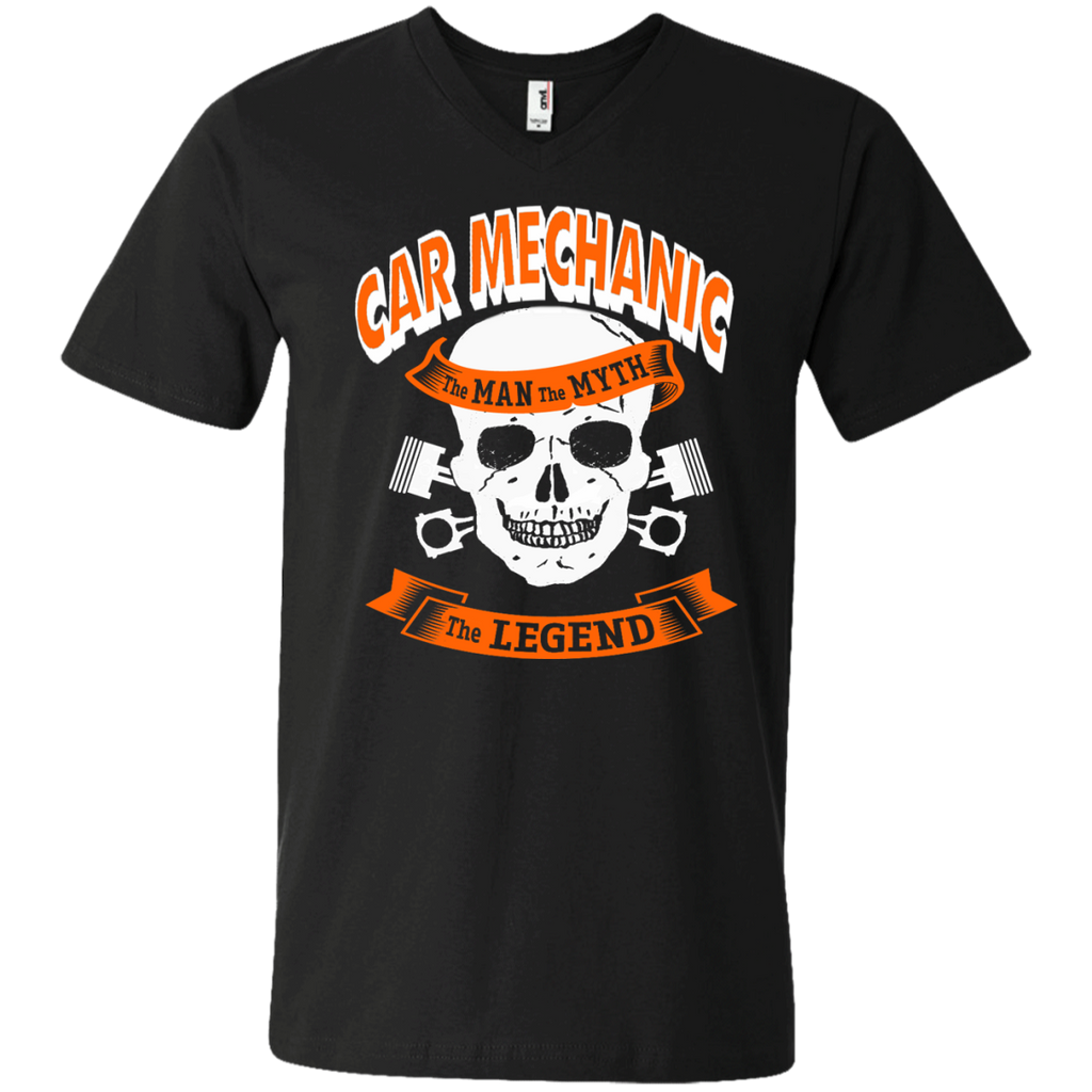 Car Mechanic The Man The Myth The Legend  Men's  Printed V-Neck T