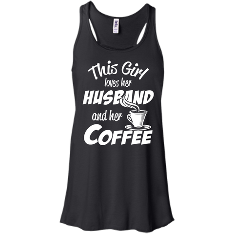 This  Girl loves her husband and her coffee  Racerback Tank