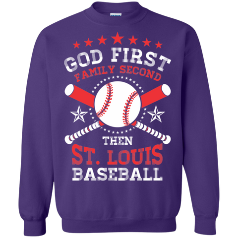 God First Family Second then St Louis Baseball  Crewneck Pullover Sweatshirt  8 oz
