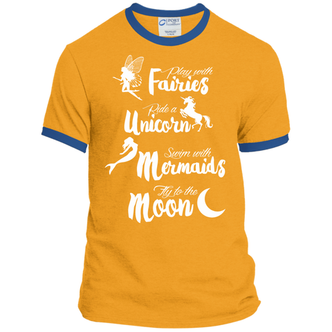 Fairies Unicorn Mermaids and Moon Ringer Tee