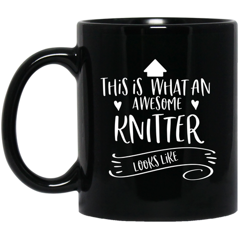 Awesome Knitter  11 oz. Black Mug