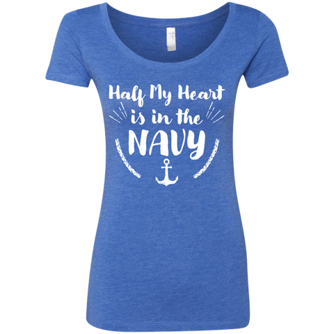 Half My Heart is in the Navy Next  Level Ladies Triblend Scoop