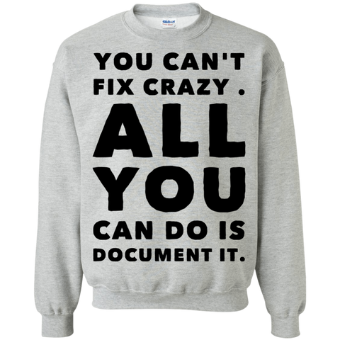 You Can't fix crazy. All You can do is document it. Sweatshirt