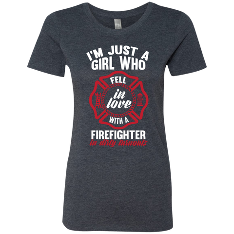 Girl Fell in love with a firefighter  Level Ladies Triblend T-Shirt