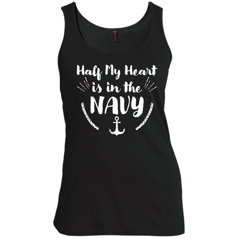 Half My Heart is in the Navy Women's Scoop Neck Tank Top